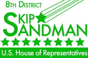Logo reading: 8th District, Skip Sandman - US House of Representatives